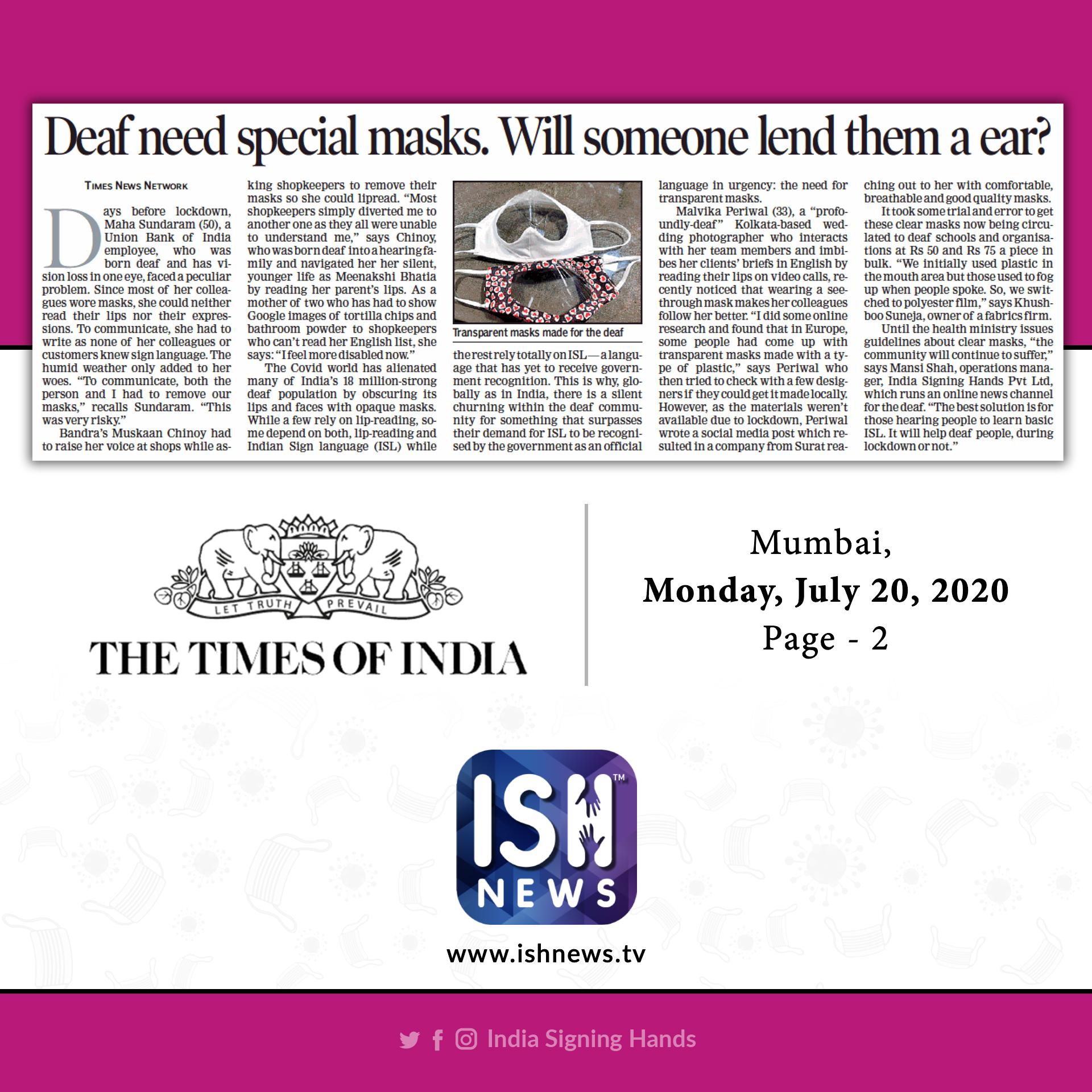 TOI- Deaf Need Masks