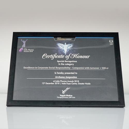India Pharma Awards 2018 - Certificate of Honour